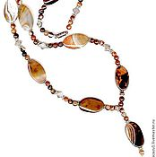 Украшения handmade. Livemaster - original item Long beads necklace with pendant carnelian natural stones. Handmade.