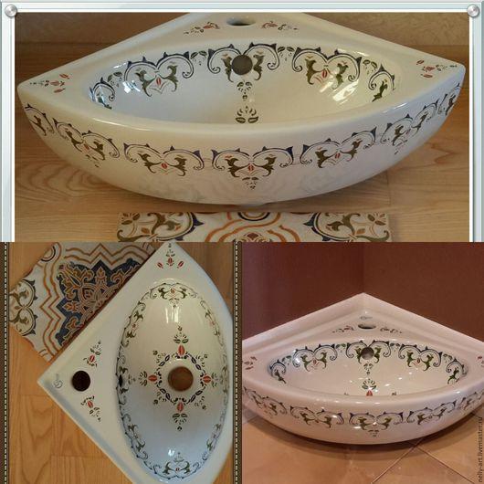 Декор поверхностей ручной работы. Ярмарка Мастеров - ручная работа. Купить Раковина для ванной восточный орнамент. Handmade. Раковина