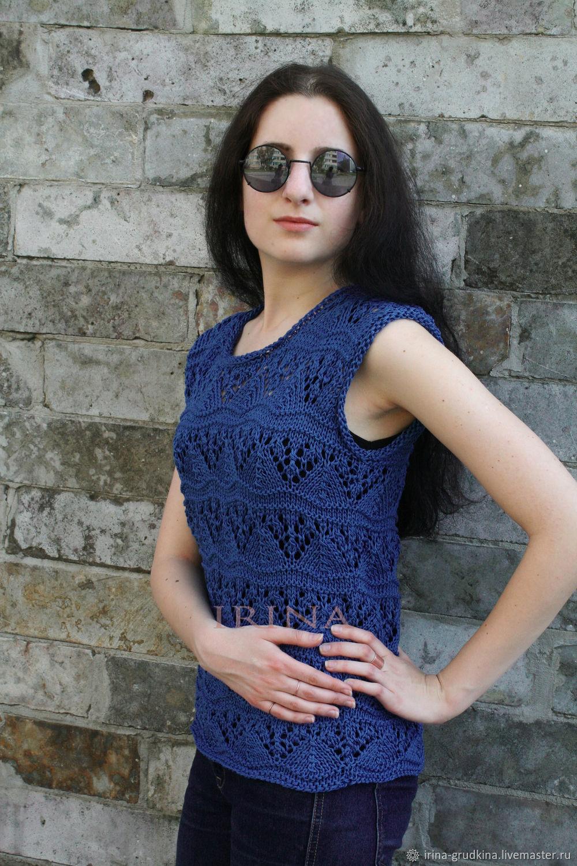 Dark blue cotton top, Tops, Lomonosov,  Фото №1