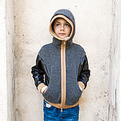 Одежда handmade. Livemaster - original item Wool hooded cardigan for boys with black sleeves of the suit. Handmade.