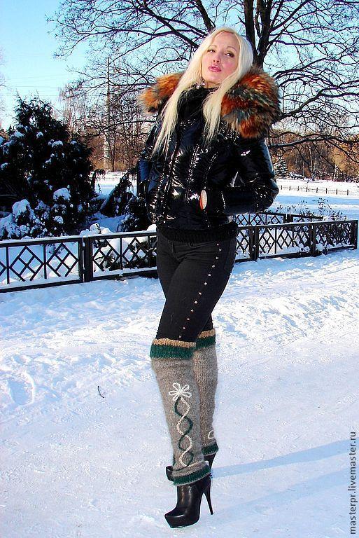 women's winter leg warmers  yarn