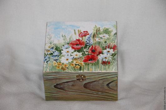 """Шкатулки ручной работы. Ярмарка Мастеров - ручная работа. Купить Шкатулка для чая  """"Полевые цветы"""". Handmade. Короб для хранения"""