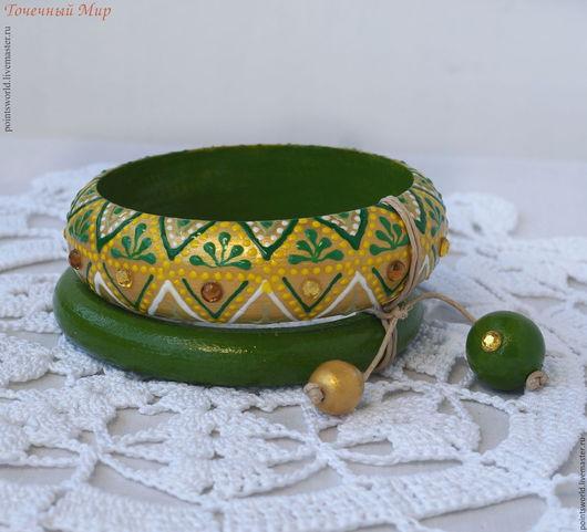 болото, точечная роспись, зеленый с золотом, сет браслетов