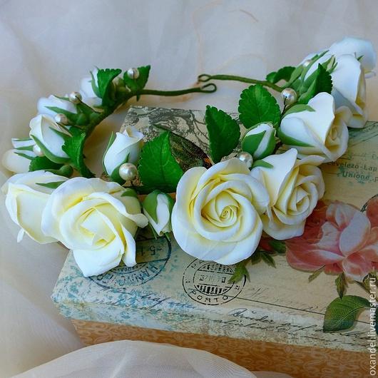 Свадебные украшения ручной работы. Ярмарка Мастеров - ручная работа. Купить Венок на голову с кремовыми розами.. Handmade. Кремовый