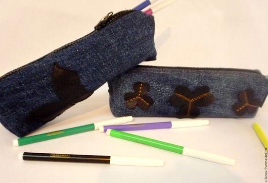 Пеналы ручной работы. Ярмарка Мастеров - ручная работа. Купить Пеналы из джинсовой ткани. Handmade. Тёмно-синий, джинса