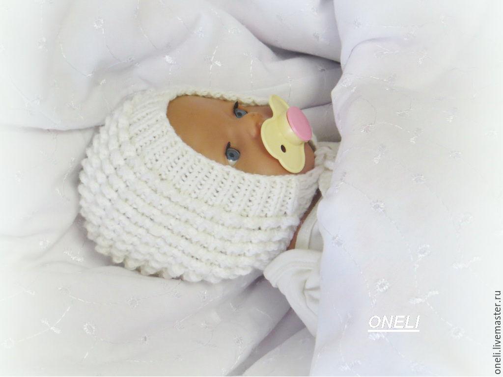 вязаный чепчик для новорожденного купить в интернет магазине на