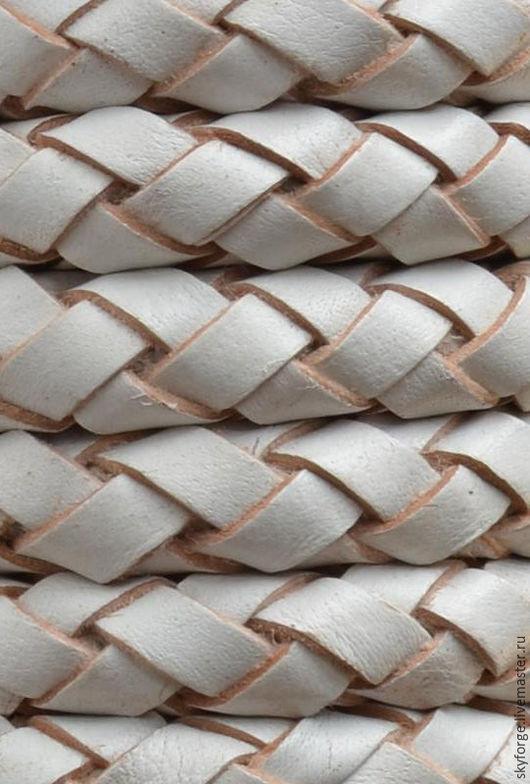 Для украшений ручной работы. Ярмарка Мастеров - ручная работа. Купить Шнур кожаный плетеный, 10 мм, белый. Handmade.