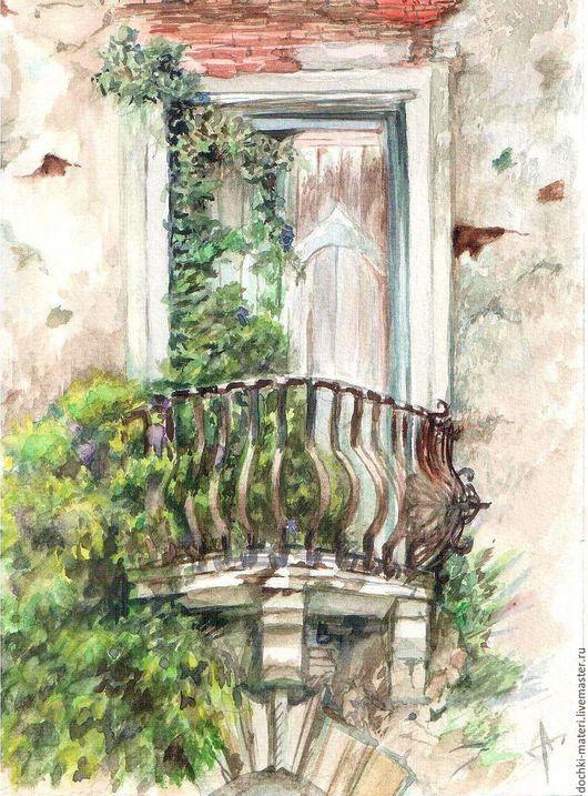 """Пейзаж ручной работы. Ярмарка Мастеров - ручная работа. Купить акварель """" Старый балкончик в Тоскане"""". Handmade. Комбинированный, балкончикхтосканахзаросли"""