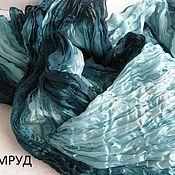 Материалы для творчества ручной работы. Ярмарка Мастеров - ручная работа Изумруд  Шелковый палантин  170 на 90 см. Handmade.