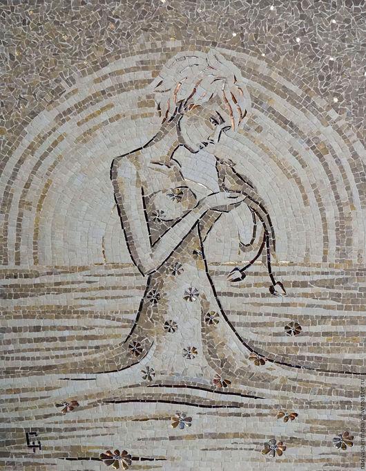 Фантазийные сюжеты ручной работы. Ярмарка Мастеров - ручная работа. Купить Картина из мозаики Aurora. Handmade. Бежевый, подарок, затирка