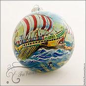 """Подарки к праздникам ручной работы. Ярмарка Мастеров - ручная работа Коллекционный елочный шар """" Корабли -1"""". Handmade."""