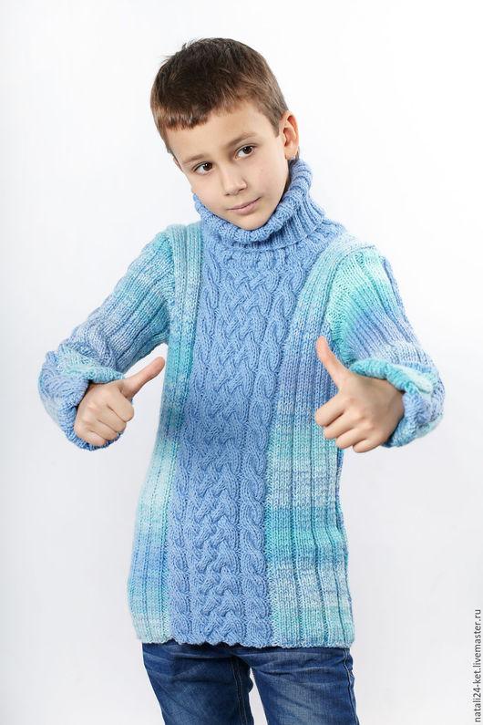 Одежда унисекс ручной работы. Ярмарка Мастеров - ручная работа. Купить Детская водолазка 4. Handmade. Бирюзовый, для детей, кашемир