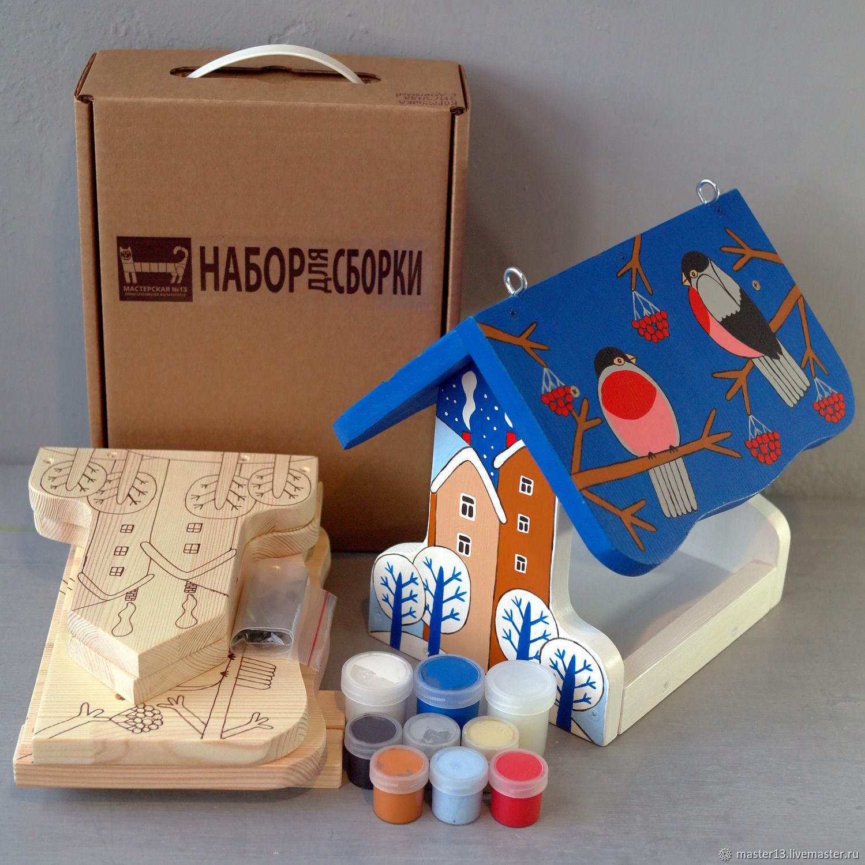 Развивающие игрушки ручной работы. Ярмарка Мастеров - ручная работа. Купить Зимняя / Кормушка /набор для сборки с контурами и красками. Handmade.