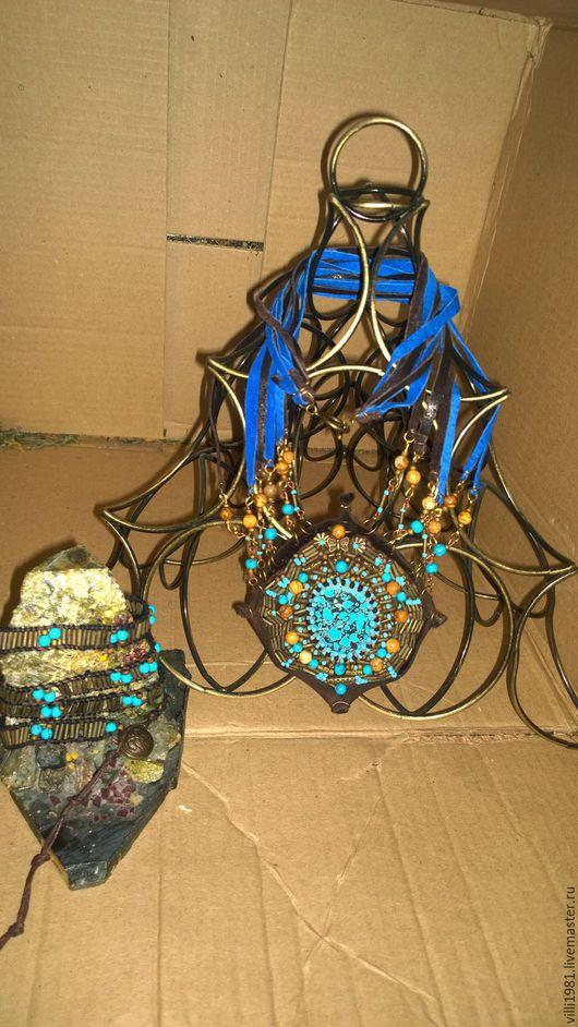Комплекты украшений ручной работы. Ярмарка Мастеров - ручная работа. Купить Набор в стиле бохо. Handmade. Бохо-стиль, голубой