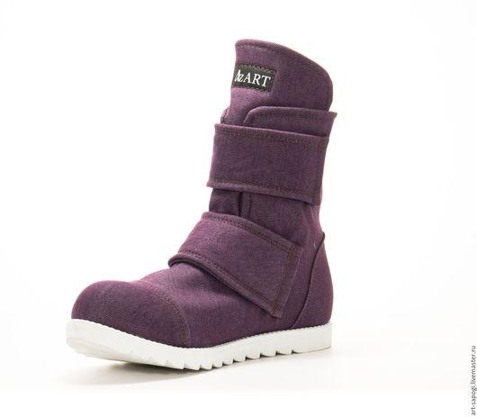 Обувь ручной работы. Ярмарка Мастеров - ручная работа. Купить Демисезонные ботинки 6-301(СБ) (джинс с байкой). Handmade. кеды