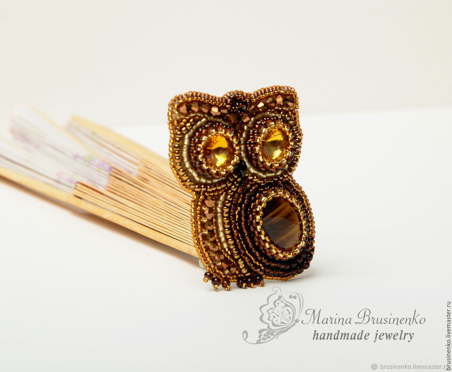 Brooch beaded with stone Forest owl brown gold, Brooches, Novosibirsk,  Фото №1