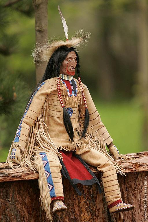 Коллекционные куклы ручной работы. Ярмарка Мастеров - ручная работа. Купить кукла индеец. Handmade. Коллекционная кукла, индеец