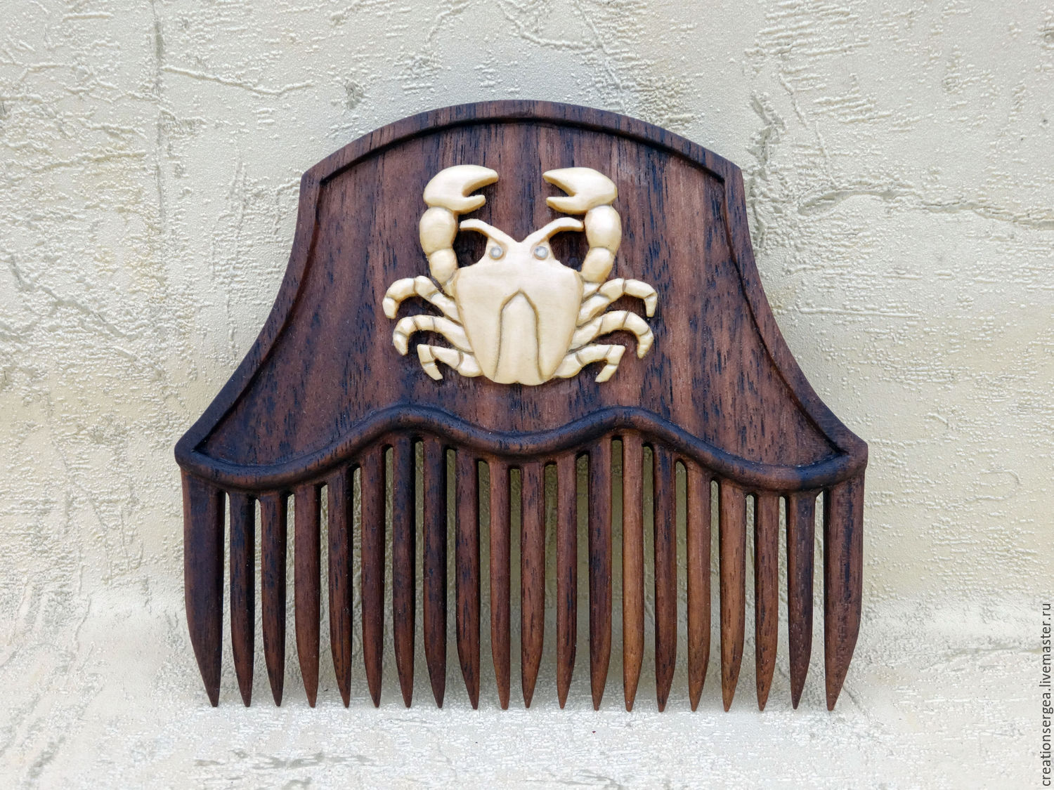 Wooden comb for hair signs of the zodiac 'Cancer', Combs, Myshkin,  Фото №1
