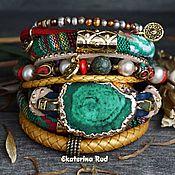 Украшения handmade. Livemaster - original item Leather and textile bracelet with Boho-chic stones