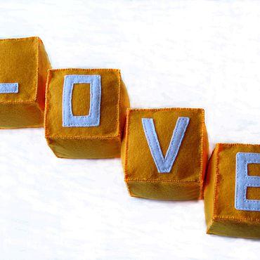 Для дома и интерьера ручной работы. Ярмарка Мастеров - ручная работа Интерьерные оранжевые фетровые кубики LOVE (HOME) CARE. Handmade.