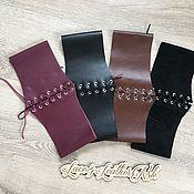 Аксессуары handmade. Livemaster - original item Belt corset leather -wine color,cognac,black. Handmade.