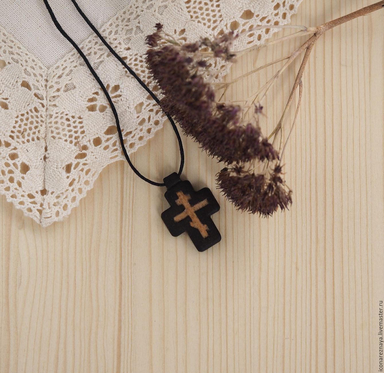 `Пасха` - деревянный нательный крест из кипариса. Деревянный крест. Крест из дерева. Крестик из дерева. Деревянный крестик.