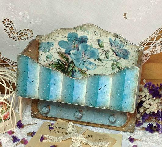 """Прихожая ручной работы. Ярмарка Мастеров - ручная работа. Купить ключница-вешалка """"Поздравительная открытка"""". Handmade. Голубой, Вешалка для полотенец"""