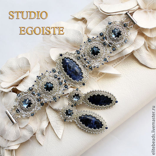 Комплекты украшений ручной работы. Ярмарка Мастеров - ручная работа. Купить №102 Blue Bridal Комплект с содалитом и Swarovski в серебре. Handmade.