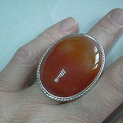 Gorgeous CARNELIAN ring,large stone! 925 sterling silver.