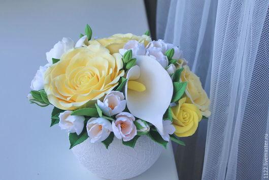 Цветы ручной работы. Ярмарка Мастеров - ручная работа. Купить Букет с каллами и желтыми розами. Handmade. Лимонный