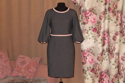 Платья ручной работы. Ярмарка Мастеров - ручная работа. Купить Платье. Handmade. Темно-серый, аксессуары из кожи, красивый рукав