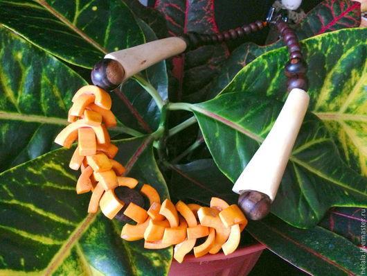 """Колье, бусы ручной работы. Ярмарка Мастеров - ручная работа. Купить Бусы """"Оранжевое Бали"""". Handmade. Оранжевый, Бали, кость"""