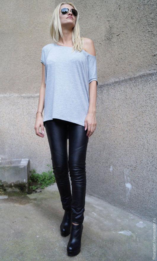 Блузки ручной работы. Ярмарка Мастеров - ручная работа. Купить Ассиметричная туника/Модная блузка из хлопка/F1622. Handmade. Серый, летняя блузка