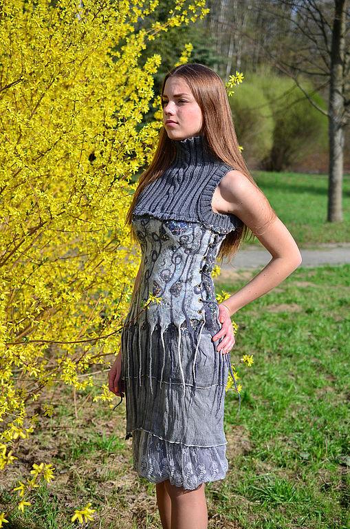 """Платья ручной работы. Ярмарка Мастеров - ручная работа. Купить платье """"Граффити"""". Handmade. Серый, платье валяное, шерсть"""