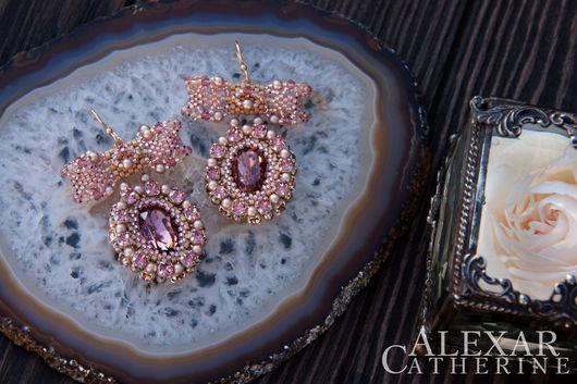 """Серьги ручной работы. Ярмарка Мастеров - ручная работа. Купить Серьги """"Rose dans le jardin"""" с кристаллами Swarovski. Handmade."""