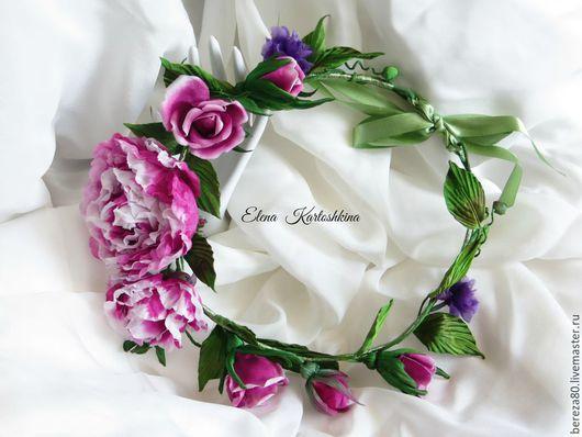 """Диадемы, обручи ручной работы. Ярмарка Мастеров - ручная работа. Купить Шелковый венок с розами """"Райский  сад"""" Цветы из шелка. Handmade."""