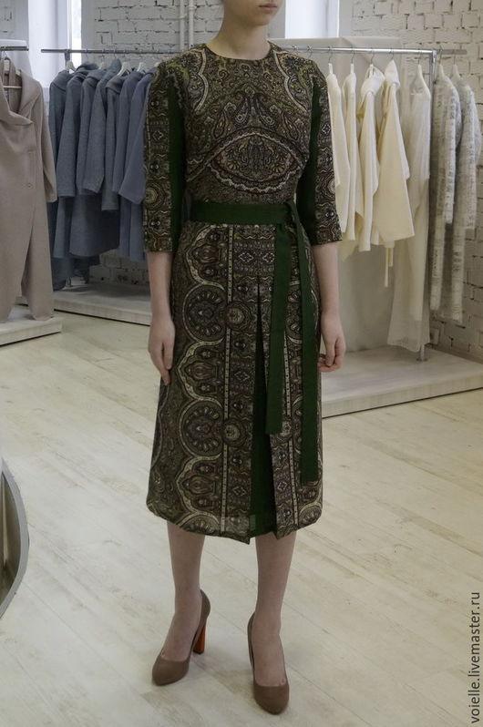 Платье нарядное из павловопосадского платка, шерсть 100%, тёплое длиной миди до колен, стильное, с орнаментом, эксклюзивное и необычное, платье на заказ, платье вечернее, на выход, на каждый день