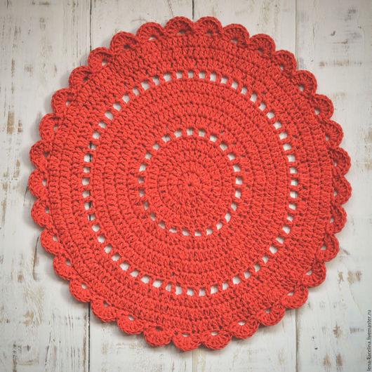 Текстиль, ковры ручной работы. Ярмарка Мастеров - ручная работа. Купить Интерьерный коврик 44 см. Handmade. Ярко-красный
