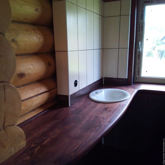 Ванная комната ручной работы. Ярмарка Мастеров - ручная работа. Купить Столешница для ванной комнаты. Handmade. Коричневый, столешница