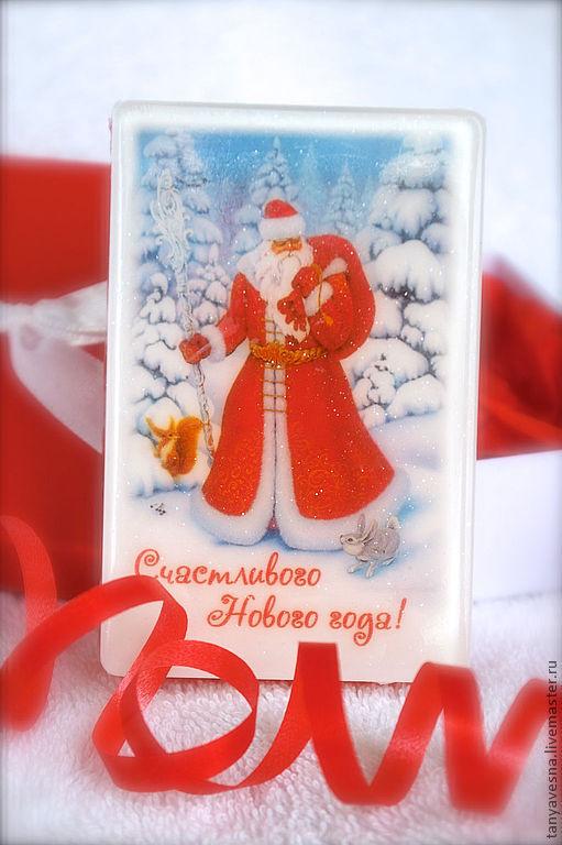 Новый год 2017 ручной работы. Ярмарка Мастеров - ручная работа. Купить Мыло Дед Мороз красивый, в подарочной коробочке. Handmade.