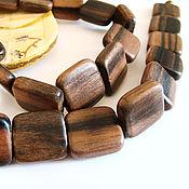 Материалы для творчества handmade. Livemaster - original item Beads tiger Ebony flat square 14mm. Handmade.