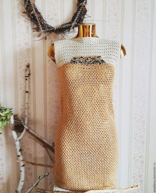 Платья ручной работы. Ярмарка Мастеров - ручная работа. Купить Элегантное платье с бисерной вышивкой. Handmade. Рыжий, платье крючком