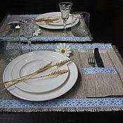 """Для дома и интерьера ручной работы. Ярмарка Мастеров - ручная работа Столовый набор на 2 персоны """"Снежинки"""". Handmade."""