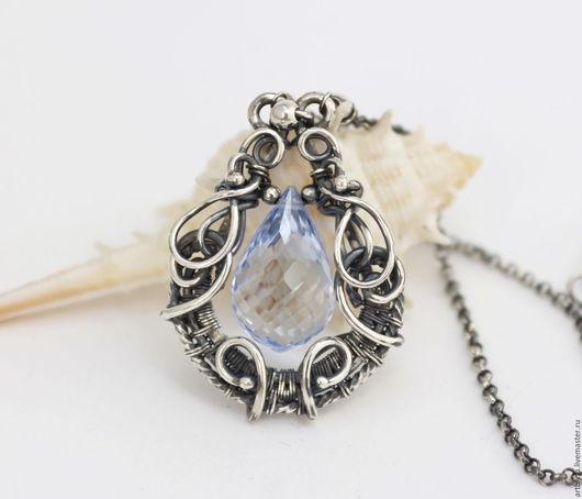 Кулон, кулоны, серебряный кулон, серебряные кулоны, кулон серебро, украшения из серебра, серебряные украшения, ювелирные украшения, голубой топаз, кулон с голубым топазом, украшения с топазом,