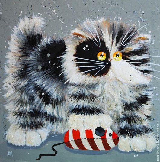 Вышивка ручной работы. Ярмарка Мастеров - ручная работа. Купить Алмазная вышивка. Коты от Kim Haskins.Butch. 20х20см. Handmade.