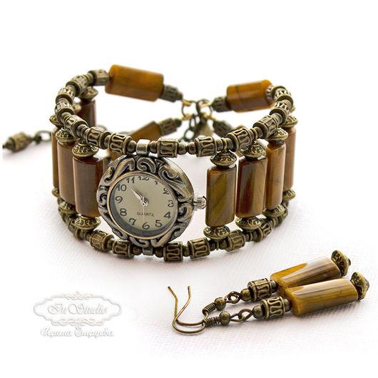Часы ручной работы. Ярмарка Мастеров - ручная работа. Купить Часы браслет из тигрового глаза Вечерний блюз. Handmade.