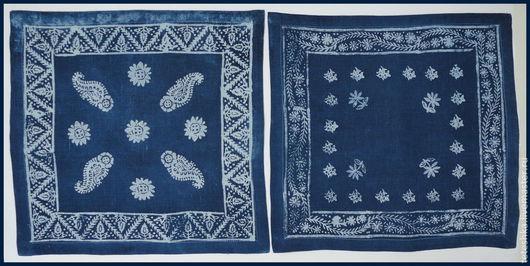 Текстиль, ковры ручной работы. Ярмарка Мастеров - ручная работа. Купить Салфетка столовая, кубовая набойка, натуральный индиго.. Handmade.