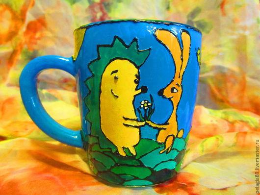 """Кружки и чашки ручной работы. Ярмарка Мастеров - ручная работа. Купить Кружка """"Еж и кроль"""". Handmade. Любовь, зайка"""