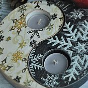 Подсвечники ручной работы. Ярмарка Мастеров - ручная работа Подсвечники инь-янь Новогодняя ночь. Handmade.