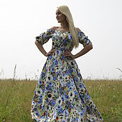 Одежда ручной работы. Ярмарка Мастеров - ручная работа Длинное платье Ромашки, платье в русском стиле. Handmade.